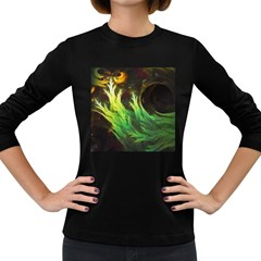 A Seaweed s Deepdream Of Faded Fractal Fall Colors Women s Long Sleeve Dark T Shirts by jayaprime