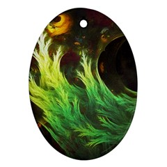 A Seaweed s Deepdream Of Faded Fractal Fall Colors Oval Ornament (two Sides) by jayaprime