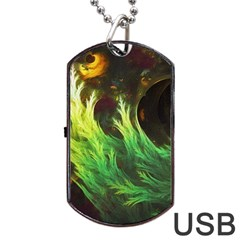 A Seaweed s Deepdream Of Faded Fractal Fall Colors Dog Tag Usb Flash (one Side) by jayaprime