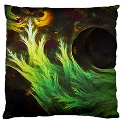 A Seaweed s Deepdream Of Faded Fractal Fall Colors Large Flano Cushion Case (two Sides) by jayaprime