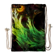 A Seaweed s Deepdream Of Faded Fractal Fall Colors Drawstring Bag (large) by jayaprime