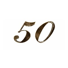 Number 50 Elegant Gold Glitter Look Typography 50th Anniversary Satin Wrap