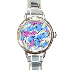 Tulips Flower Pattern Round Italian Charm Watch by paulaoliveiradesign