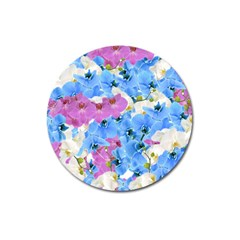 Tulips Flower Pattern Magnet 3  (round) by paulaoliveiradesign