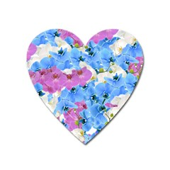 Tulips Flower Pattern Heart Magnet by paulaoliveiradesign