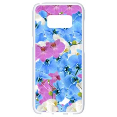 Tulips Flower Pattern Samsung Galaxy S8 White Seamless Case by paulaoliveiradesign