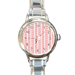 Red Lotus Floral Pattern Round Italian Charm Watch by paulaoliveiradesign
