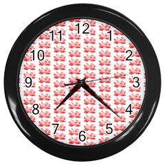 Red Lotus Floral Pattern Wall Clocks (black) by paulaoliveiradesign