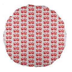 Red Lotus Floral Pattern Large 18  Premium Round Cushions by paulaoliveiradesign