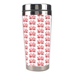 Red Lotus Floral Pattern Stainless Steel Travel Tumblers by paulaoliveiradesign