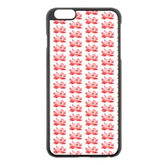 Red Lotus Floral Pattern Apple Iphone 6 Plus/6s Plus Black Enamel Case by paulaoliveiradesign