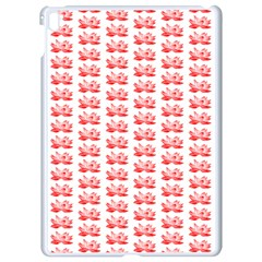 Red Lotus Floral Pattern Apple Ipad Pro 9 7   White Seamless Case