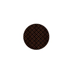 Woven2 Black Marble & Brown Wood 1  Mini Button by trendistuff