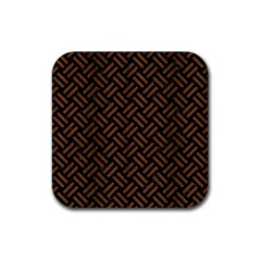 Woven2 Black Marble & Brown Wood Rubber Square Coaster (4 Pack) by trendistuff