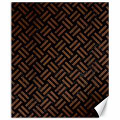 Woven2 Black Marble & Brown Wood Canvas 8  X 10  by trendistuff