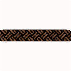 Woven2 Black Marble & Brown Wood Small Bar Mat by trendistuff