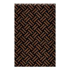 Woven2 Black Marble & Brown Wood Shower Curtain 48  X 72  (small) by trendistuff