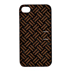 Woven2 Black Marble & Brown Wood Apple Iphone 4/4s Hardshell Case With Stand by trendistuff
