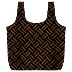 Woven2 Black Marble & Brown Wood Full Print Recycle Bag (xl) by trendistuff