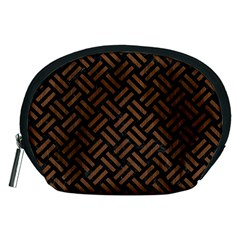 Woven2 Black Marble & Brown Wood Accessory Pouch (medium) by trendistuff
