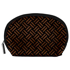 Woven2 Black Marble & Brown Wood Accessory Pouch (large) by trendistuff