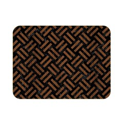 Woven2 Black Marble & Brown Wood Double Sided Flano Blanket (mini) by trendistuff