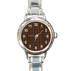 Woven1 Black Marble & Brown Wood (r) Round Italian Charm Watch by trendistuff