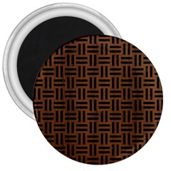 Woven1 Black Marble & Brown Wood (r) 3  Magnet by trendistuff