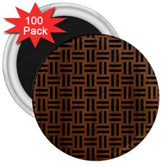 Woven1 Black Marble & Brown Wood (r) 3  Magnet (100 Pack) by trendistuff