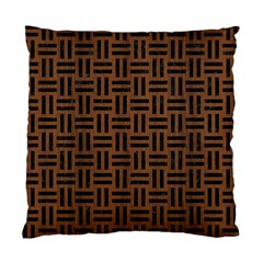 Woven1 Black Marble & Brown Wood (r) Standard Cushion Case (two Sides) by trendistuff