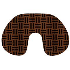 Woven1 Black Marble & Brown Wood (r) Travel Neck Pillow by trendistuff
