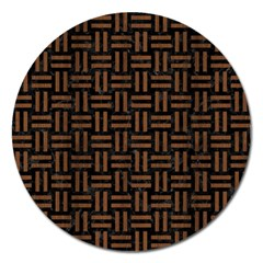 Woven1 Black Marble & Brown Wood Magnet 5  (round) by trendistuff
