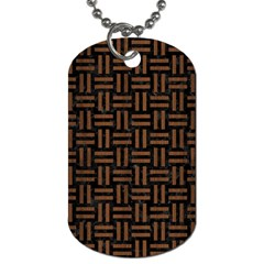 Woven1 Black Marble & Brown Wood Dog Tag (one Side) by trendistuff