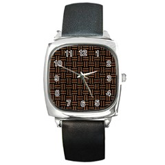 Woven1 Black Marble & Brown Wood Square Metal Watch by trendistuff