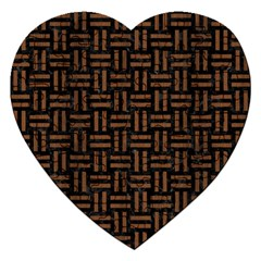 Woven1 Black Marble & Brown Wood Jigsaw Puzzle (heart) by trendistuff