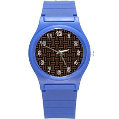 Woven1 Black Marble & Brown Wood Round Plastic Sport Watch (s) by trendistuff
