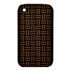Woven1 Black Marble & Brown Wood Apple Iphone 3g/3gs Hardshell Case (pc+silicone) by trendistuff