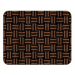 Woven1 Black Marble & Brown Wood Double Sided Flano Blanket (large) by trendistuff