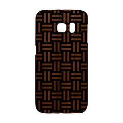 Woven1 Black Marble & Brown Wood Samsung Galaxy S6 Edge Hardshell Case