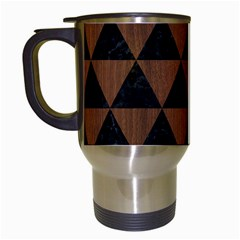 Triangle3 Black Marble & Brown Wood Travel Mug (white) by trendistuff