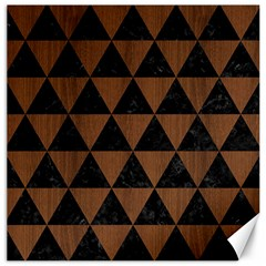 Triangle3 Black Marble & Brown Wood Canvas 12  X 12  by trendistuff