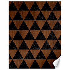 Triangle3 Black Marble & Brown Wood Canvas 12  X 16  by trendistuff