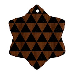Triangle3 Black Marble & Brown Wood Snowflake Ornament (two Sides) by trendistuff