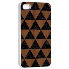 Triangle3 Black Marble & Brown Wood Apple Iphone 4/4s Seamless Case (white) by trendistuff