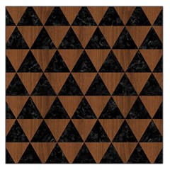 Triangle3 Black Marble & Brown Wood Large Satin Scarf (square) by trendistuff
