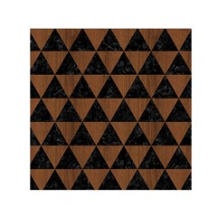Triangle3 Black Marble & Brown Wood Small Satin Scarf (square) by trendistuff