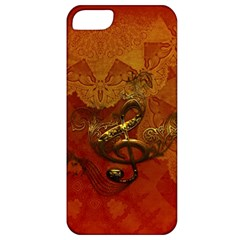 Golden Clef On Vintage Background Apple Iphone 5 Classic Hardshell Case by FantasyWorld7