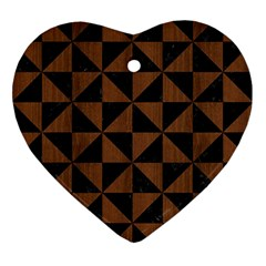 Triangle1 Black Marble & Brown Wood Ornament (heart) by trendistuff