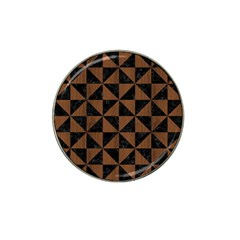 Triangle1 Black Marble & Brown Wood Hat Clip Ball Marker by trendistuff