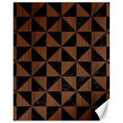 Triangle1 Black Marble & Brown Wood Canvas 11  X 14  by trendistuff